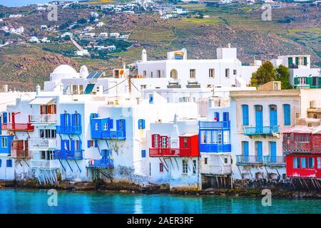 Mykonos, Greece aerial panoramic view of Little Venice white traditional houses on water - Stock Photo