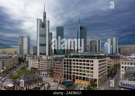 FRANKFURT, GERMANY - SEPTEMBER 16: Skyscrapers and the skyline of Frankfurt, Germany on September 16, 2019.  Foto taken from Zeil with view to Commerz - Stock Photo