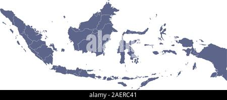 Indonesia map blank with provinces vector isolated illustration. Blue shape color background. - Stock Photo