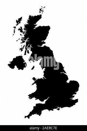 United Kingdom silhouette map - Stock Photo