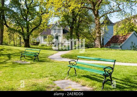Gamle Bergen Open-air Museum, Frydenkund Mansion, Bergen City, Hordaland, Norway, Scandinavia, Europe - Stock Photo