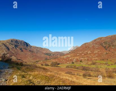 Looking over to Wetherlam Hill and up  near Elterwater, Lake District, Cumbria, England - Stock Photo