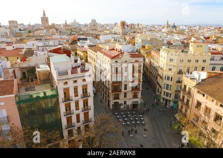 Valencia cityscape from Torres de Serranos, Spain, Europe - Stock Photo