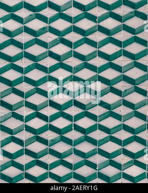 Typical Portuguese three dimension imitating abstract tile patterns in various colors blue, green, purple turquoise - Stock Photo