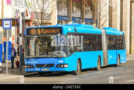 BUDAPEST, HUNGARY - MARCH 2019: Public services bus at a stop in Budapest city centre - Stock Photo