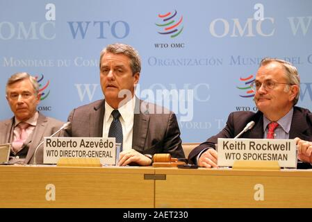 Geneva, Switzerland. 10th Dec, 2019. World Trade Organization (WTO) Director-General Roberto Azevedo (C) speaks at a press conference after a two-day meeting of the WTO's General Council in Geneva, Switzerland, on Dec. 10, 2019. Roberto Azevedo said here Tuesday that as of Wednesday, the Appellate Body would be unable to hear new appeals. Credit: Peter Kenny/Xinhua/Alamy Live News - Stock Photo