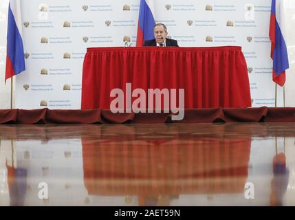 Washington, USA. 10th Dec, 2019. WASHINGTON, D.C., USA - DECEMBER 10, 2019: Russia's Foreign Minister Sergei Lavrov gives a news conference at the Russian Embassy in Washington DC. Alexander Shcherbak/TASS Credit: ITAR-TASS News Agency/Alamy Live News - Stock Photo