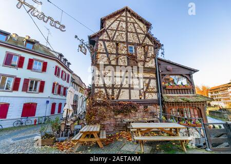 Traditional half-timbered houses in La Petite France, Strasbourg, Alsace, France Stock Photo