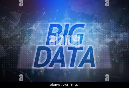 big data text on the connection technology background. the information and computer performance concept. - Stock Photo