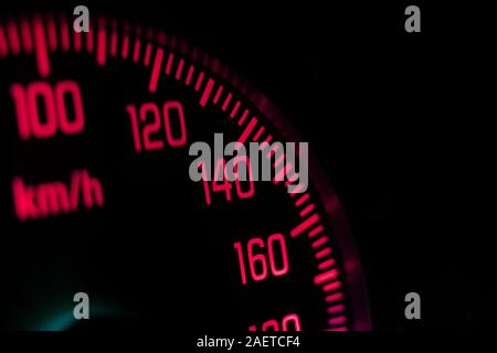 a macro view of the speedometer in the vehicle with numbers and scale