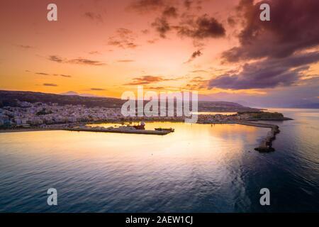 Rethimno city with the fortress of Fortezza, Crete, Greece. - Stock Photo