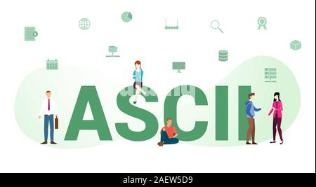 ascii standard technology data concept with big word or text and team people with modern flat style - vector illustration - Stock Photo