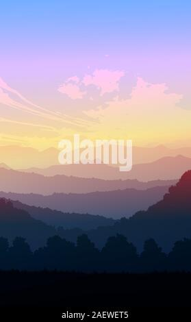 Natural forest trees mountains horizon hills Sunrise and sunset Landscape wallpaper Illustration vector style Colorful view background - Stock Photo