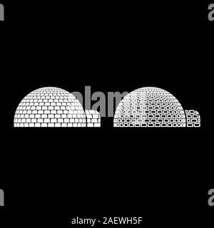 Igloo dwelling with icy cubes blocks Place when live inuits and eskimos Arctic home Dome shape icon outline set white color vector illustration flat - Stock Photo
