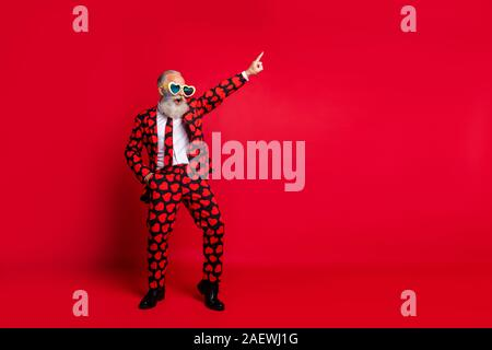 Full length body size view of his he nice attractive trendy crazy cool cheerful cheery white-haired guy dancing having fun clubbing isolated on bright - Stock Photo