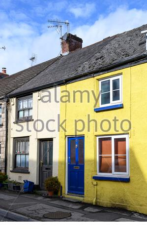 Terraced houses, Church Road, Chepstow, Monmouthshire, Wales - Stock Photo
