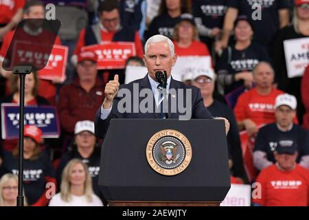 HERSHEY, PA - DECEMBER 10 : U.S. Vice President Mike Pence speaks at a campaign rally on December 10, 2019 at Giant Center in Hershey, Pennsylvania. - Stock Photo