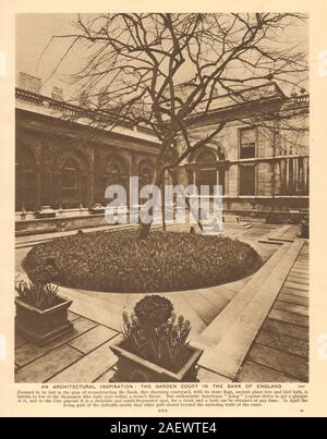 The garden court in the Bank of England 1926 old vintage print picture - Stock Photo