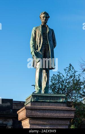 Statue of Abraham Lincoln on Scottish American Civil War Monument in Old Calton Burial Ground in Calton Hill, Edinburgh, Scotland, UK - Stock Photo
