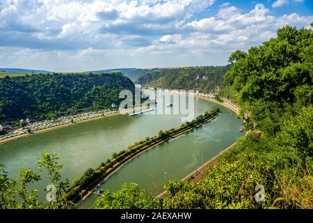 View from the Loreley Rock in Sankt Goarhausen, Germany - Stock Photo