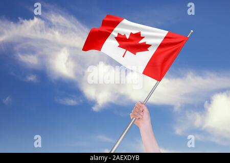 Female hand is waving Canadian Flag against blue sky with clouds. Realistic reflections and textures with high resolution. 3D rendering. - Stock Photo