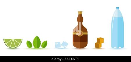 Popular alcoholic cocktail Mojito, ingredients in flat style. Pastel colors. Vector illustration. Suitable for bar and restaurant menus, cocktail. - Stock Photo