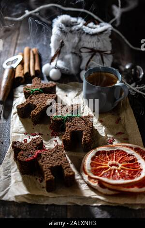 Christmas gingerbread on a decorated old table.Healthy dessert in the winter evening.Low fat food