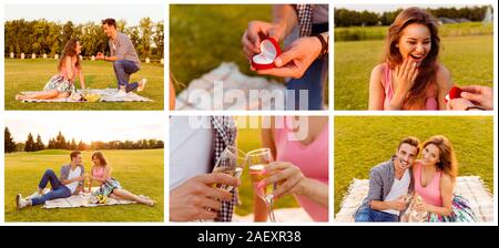 Collage of man doing beautiful marriage proposal to his girlfriend - Stock Photo