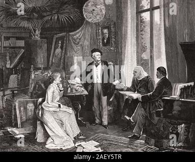 Richard Wagner Cosima Wagner, Franz Liszt and Hans von Wolzogen in Wahnfried House, Bayreuth, - Stock Photo