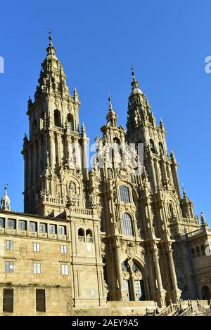 Cathedral with sunset light and blue sky. View from Praza do Obradoiro. Santiago de Compostela, Spain. - Stock Photo