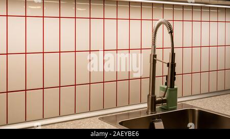 Kitchen made of fine tiles with red lines.  - Stock Photo