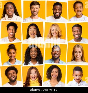 Collage of diverse international people of different ages smiling over yellow background - Stock Photo
