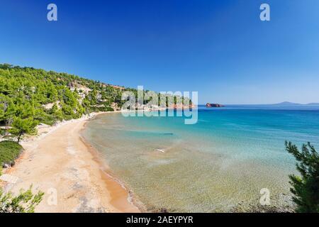The beach Chrisi Milia of Alonissos island, Greece - Stock Photo