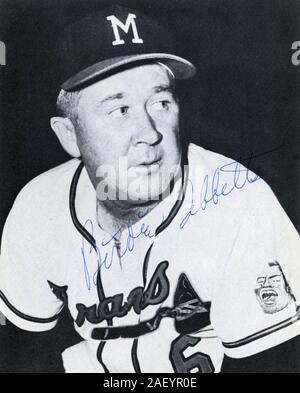 Vintage autographed black and white souvenir photo of Birdie Tebbetts the manager for the Milwaukee Braves circa 1950's. Stock Photo