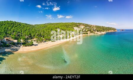 The beach Chrisi Milia of Alonissos island from drone view, Greece - Stock Photo