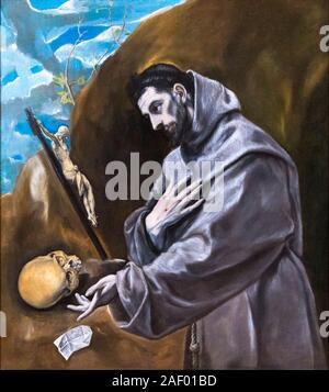 Saint Francis in Prayer by El Greco (Domenikos Theotokopoulos, 1541-1614), oil on canvas, c.1580–85 - Stock Photo