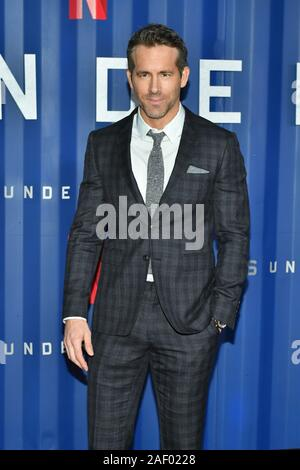 Ryan Reynolds attends Netflix's '6 Underground' New York Premiere at The Shed on December 10, 2019 in New York City. - Stock Photo