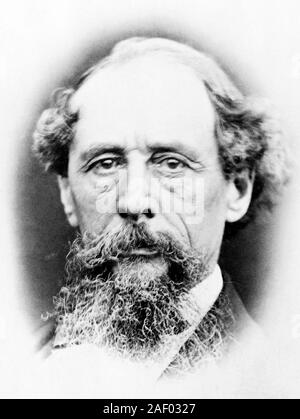 Vintage portrait photo of English author Charles Dickens (1812 – 1870). Photo circa 1865. - Stock Photo