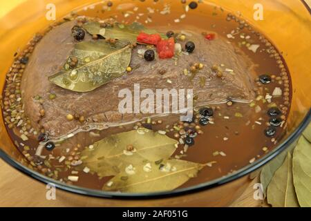 Braised beef in a glass bowl - Stock Photo