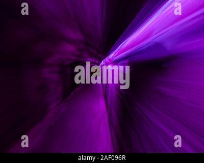 Underground tunnel under Rijeka in Croatia lighted illuminated for festivity Violet color - Stock Photo