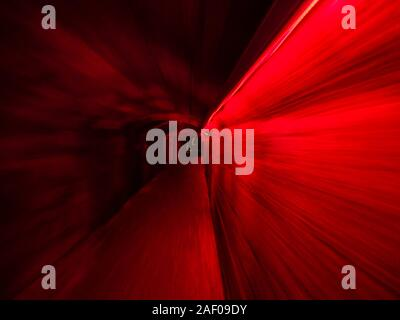 Underground tunnel under Rijeka in Croatia lighted illuminated for festivity Red color - Stock Photo