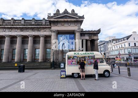 Ice Cream van in front of The Royal Scottish Academy The Queen: Art and Image - National Portrait Gallery, Edinburgh, UK - Stock Photo