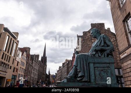 David Hume statue on Royal Mile, sited outside the High Court on Lawnmarket, Edinburgh, Scotland, UK - Stock Photo
