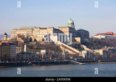 Buda Castle royal palace on Castle Hill, Buda, Winter in Budapest, Hungary. December 2019 - Stock Photo
