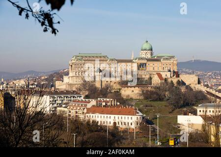 The Royal Palace, Buda Castle, Winter in Budapest, Hungary. December 2019 - Stock Photo