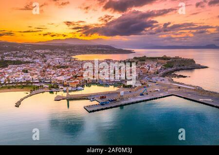 Rethimno city with the fortress of Fortezza and lighthouse, Crete, Greece. - Stock Photo