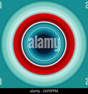Colorful abstract bright circle , circular lines , radial striped texture in blue and red tones on cyan background. Round pattern - Stock Photo