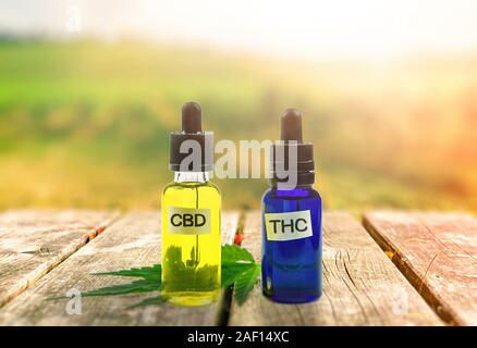 THC and CBD oil bottles on wooden table against Cannabis plantation - Stock Photo