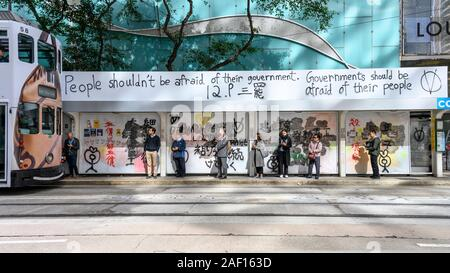 Central Hong Kong December 9 2019. Graffiti following the protest on December 8th which brought an estimated 800,000 participants. - Stock Photo