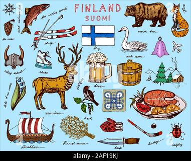 Symbols of Finland in vintage style. Doodle sketch with traditional signs. Scandinavian culture, national entertainment in a European country. Animals - Stock Photo